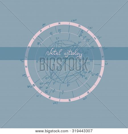 Horoscope Natal Chart, Astrological Celestial Map, Cosmogram, Vitasphere, Radix. Blue Pink Grey Colo