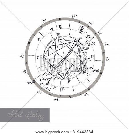 Horoscope Natal Chart, Astrological Celestial Map, Cosmogram, Vitasphere, Radix. White Black Color.
