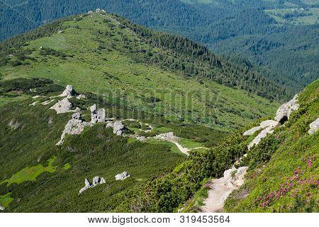 Big Rocky Vertical Boulders On Summer Mountain Ridge, Carpathian, Chornohora, Vuhatyj Kaminj, Ukrain