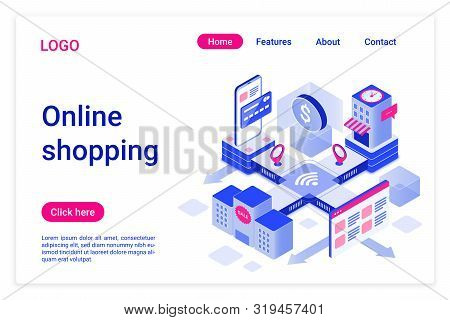Online Shopping Isometric Landing Page Template. Internet Purchases Promotional Web Banner. E-commer