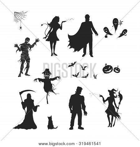 Black Silhouettes Of Halloween Characters. Isolated Image Of Vampire, Witch, Mummy And Ghost. Elemen