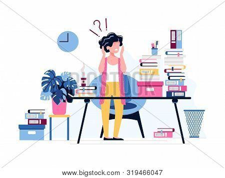 Annoyed Female Office Worker. Exhausted Businesswoman Terrified Of The Huge Amount Of Work.  Burnout
