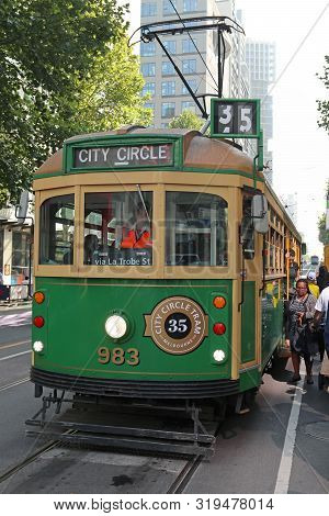 Melbourne, Australia - January 21: The City Circle Tram Service Provides A Free Way To Get Around Ce