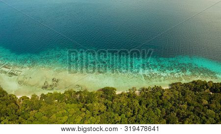 Seascape Island Coast With Forest And Palm Trees, Coral Reef With Turquoise Water, Aerial View. Sea