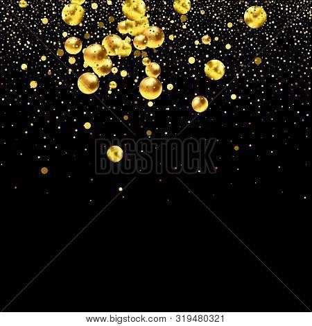 Gold Glitter Texture On A Black Background. Golden Explosion Of Confetti. Design Element.