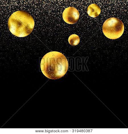 Festive Background With Falling Glitter Confetti. Sparkling Glitter Border, Vector Frame. Great For