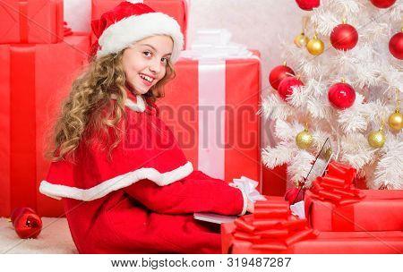 Kid Cute Girl Writing Email Letter On Laptop. Modern Letter For Santa Claus. Online Santa. Send Mess