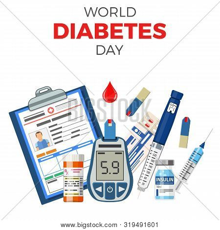 Control Your Diabetes Concept. World Diabetes Day. Blood Glucose Meter, Insulin Pen Syringe, Red Blo