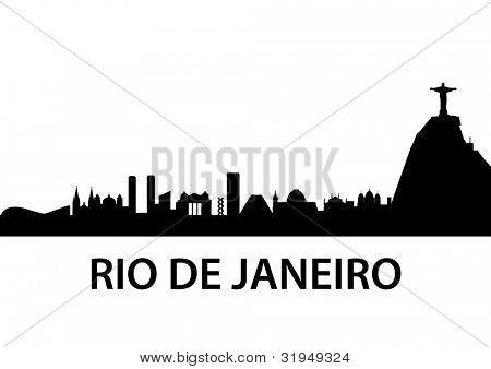 detailed illustration of Rio de Janeiro skyline, Brazil poster
