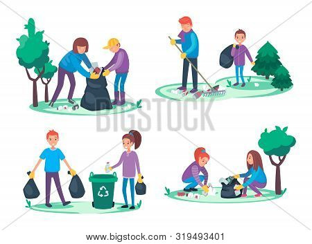Boys And Girls Take Away Litter And Garbage. Environmental Cleanup Concept. Group Of People Making A