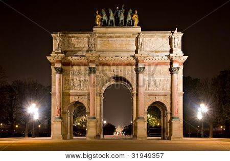 Arc De Triomphe Du Carrousel At Night