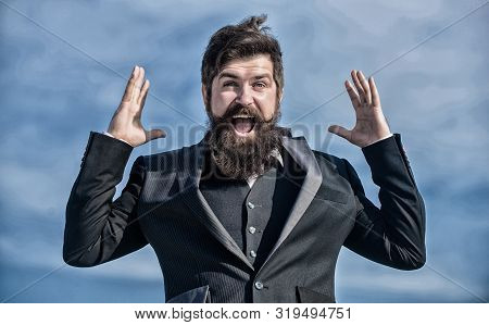 Man Bearded Optimistic Businessman Wear Formal Suit Sky Background. Success And Luck. Optimistic Moo