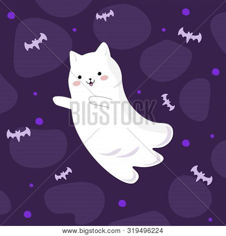 Vector Graphics. Cartoon, Bright, Cute Illustration With A Ghost Cat And Bats. Kawaii Emotion. Hallo