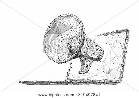 Digital Marketing Low Poly Wireframe Illustration. Polygonal Online Notification, Internet Targeted