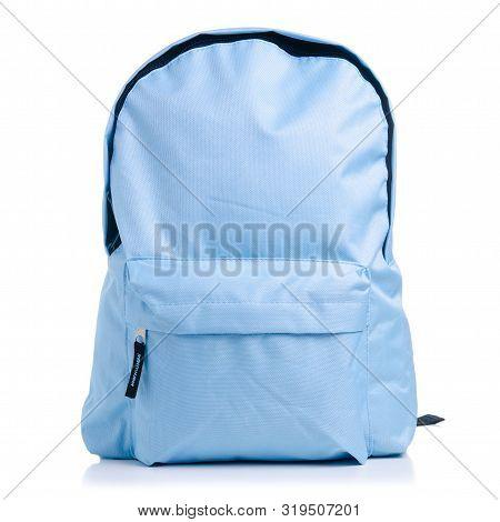Blue School Backpack On White Background Isolation