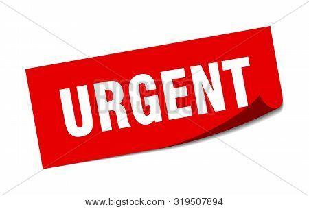Urgent Sticker. Urgent Square Isolated Sign. Urgent