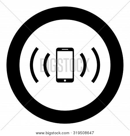 Smartphone Emits Radio Waves Sound Wave Emitting Waves Concept Icon In Circle Round Black Color Vect