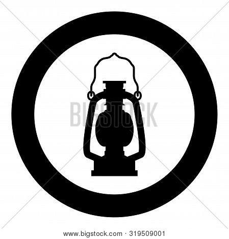 Kerosene Lamp Camping Lantern Retro Gas Lamp Vintage Icon In Circle Round Black Color Vector Illustr
