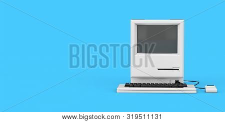 Retro Personal Computer. The System Unit, Monitor, Keyboard And Mouse On A Blue Background. 3d Rende