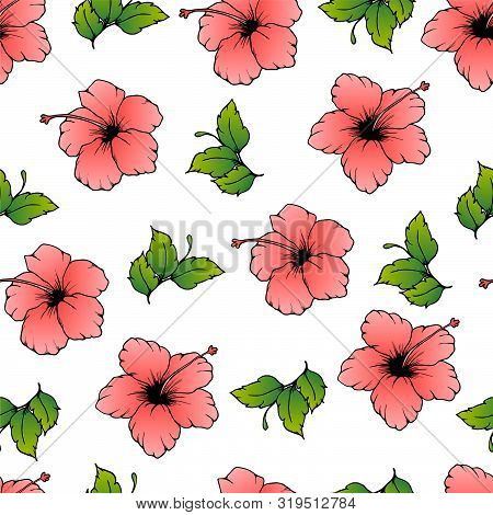 Seamless Vector Pattern With Pink Hibiscus And Green Leaves. Hand Drawn Hibiscus, Flower With Gradie