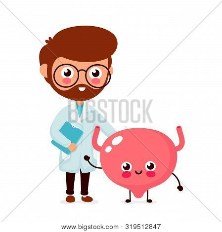 Cute Funny Smiling Doctor Urologist And Healthy Happy Bladder.healthcare,medical Help. Vector Flat C