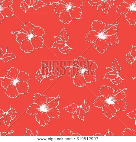 Seamless Vector Pattern With White Outline Of Hibiscus Flowers And Leaves On Pink Background. Hand D