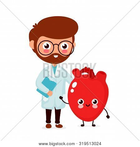 Cute Funny Smiling Doctor Cardiologist And Healthy Happy Heart.healthcare,medical Help. Vector Flat