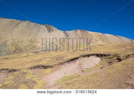 The Red Valley Near Rainbow Mountain In The High Andean Mountains, Peru
