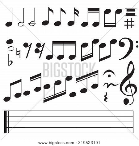 Music Notes Icon On White Background. Flat Style. Music Notes Icon For Your Web Site Design, Logo, A
