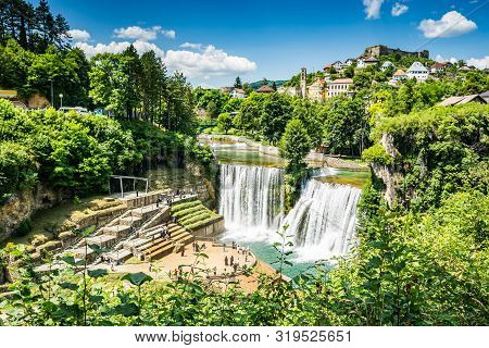 Jajce Waterfall In Bosnia And Herzegovina, Europe