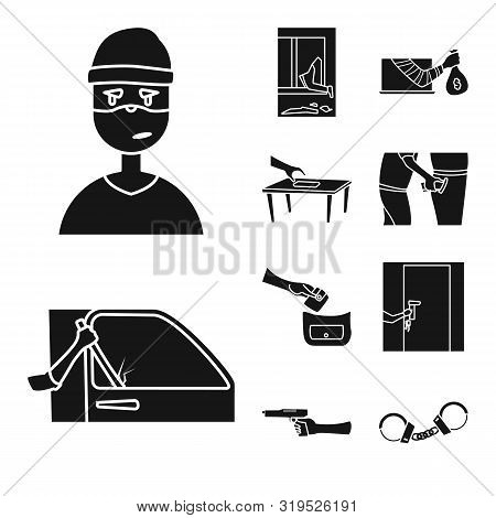 Vector Design Of Robber And Villain Sign. Set Of Robber And Police Vector Icon For Stock.