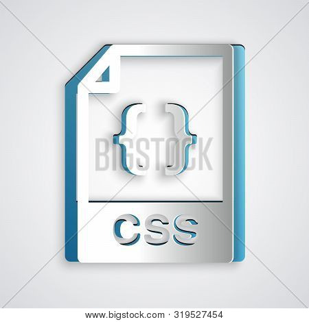 Paper Cut Css File Document. Download Css Button Icon Isolated On Grey Background. Css File Symbol.