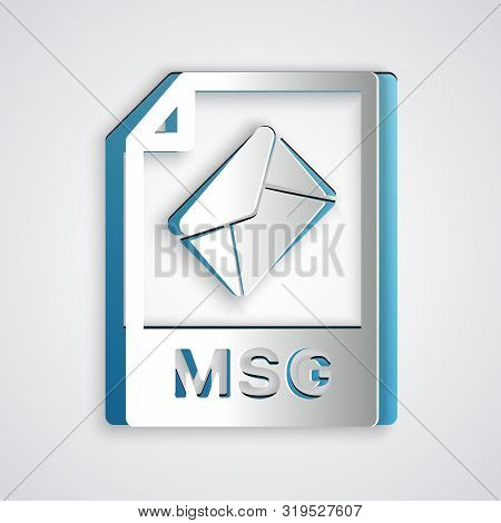 Paper Cut Msg File Document. Download Msg Button Icon Isolated On Grey Background. Msg File Symbol.