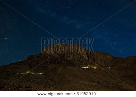 Mount Moses At Night. Starry Sky And The Milky Way. Holy Place For Pilgrims And Tourists. Mount Sina