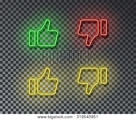 Neon Thumb Up, Down Signs Vector Isolated On Brick Wall. Like, Unlike, Light Symbol, Decoration Effe