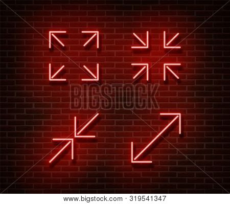 Neon Maximize, Minimize Screen Signs Vector Isolated On Brick Wall. Video Player Light Symbol, Decor