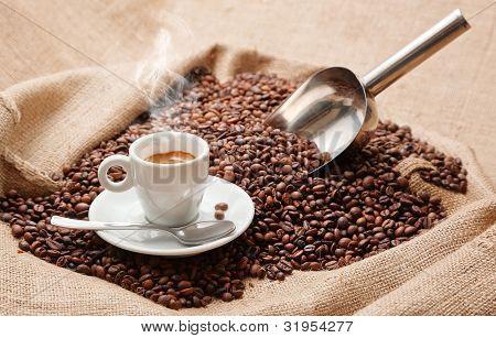 hot coffee with smoke