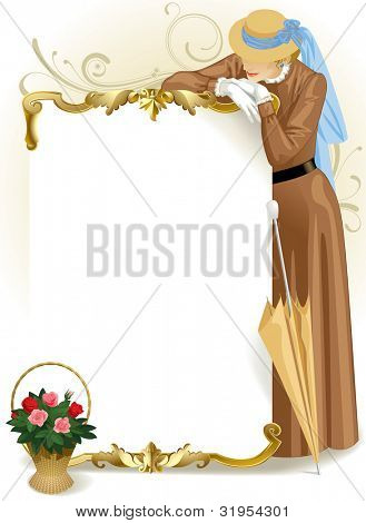 Raster version of vector image of vintage gold framed poster with standing woman in retro brown dress and basket with roses