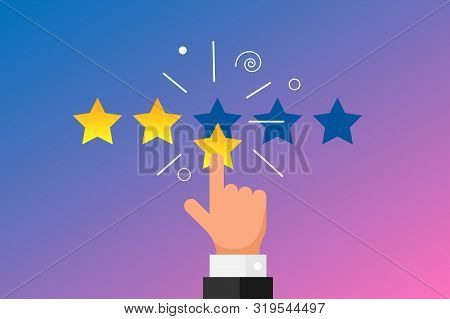 Online Feedback Reputation Good Quality Customer Review Concept Flat Style. Businessman Hand Finger