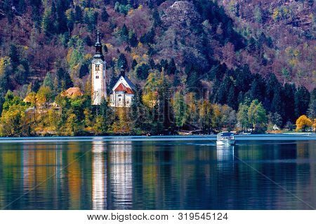 Bled Island In Bled Lake, Slovenia. Sport And Recreation In Slovenia