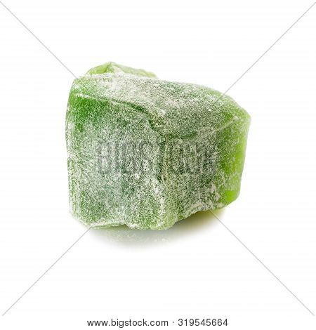 Turkish delight. Mint rahat locum, one piece of sweet oriental delights in powered sugar. Close-up view. poster