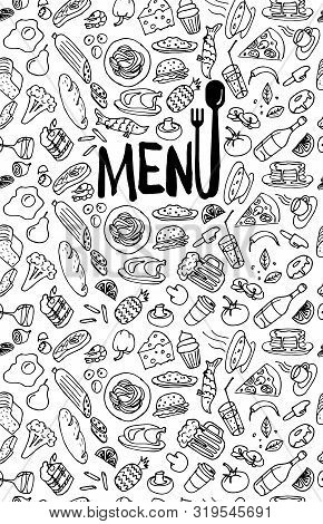 Cafe Restaurant Menu Cover Design Template. Title Page With Hand Drawn Food Doodle Outline Colored S