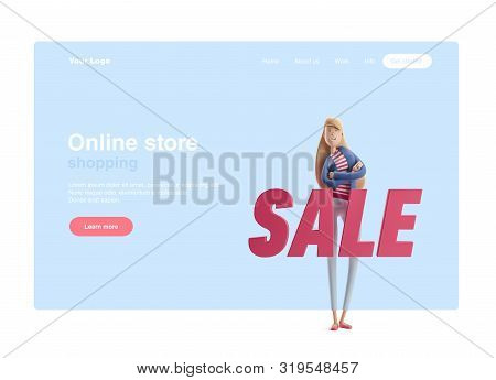 Young Business Woman Emma Standing With Big Title Sale On A Blue Background. 3d Illustration. Web Ba