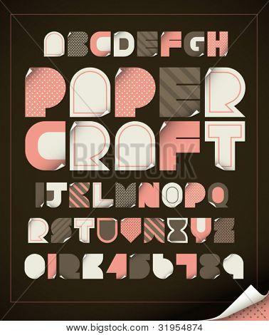 vector of vintage paper craft alphabets