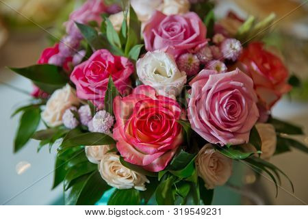 Pink, White, Yellow Flower Bouquet . White, Purple Roses .roses With Bokeh In The Background, Roses