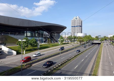 Munich, Germany - May The 1st, 2019: Bmw Group Headquarter, Welt And Museum Buildings In Munich View