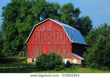 Rustic, Red, Wooden Barn Has Cracked And Peeling Paint.  Roof Has Been Replaced With New Tin Roof.