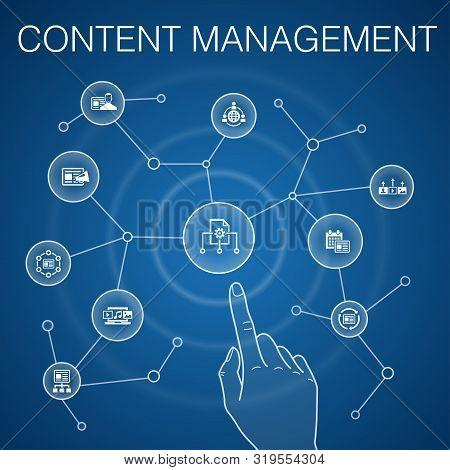 Content Management Concept, Blue Background.cms, Content Marketing, Outsourcing, Digital Content Sim