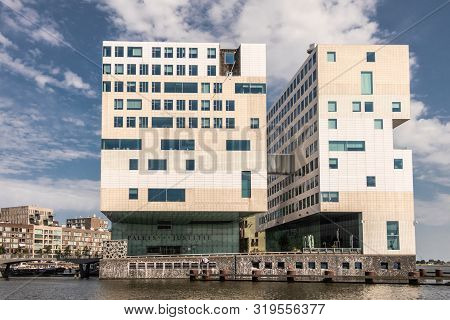 Amsterdam, The Netherlands - June 30, 2019: Cubic Modern Architecture Of White Large Justice Palace