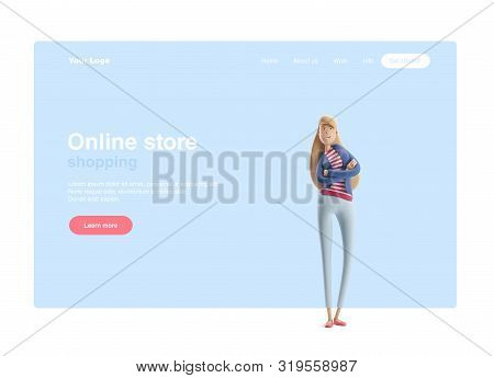 Young Business Woman Emma Standing On A Blue Background. 3d Illustration. Web Banner, Start Site Pag